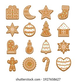 Cartoon Christmas Cookies Icon Set Holiday Concept Element Flat Design Style Include of Star and Tree. illustration of Icons