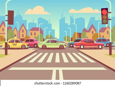 Cartoon city crossroads with cars in traffic jam, sidewalk, crosswalk and urban landscape illustration