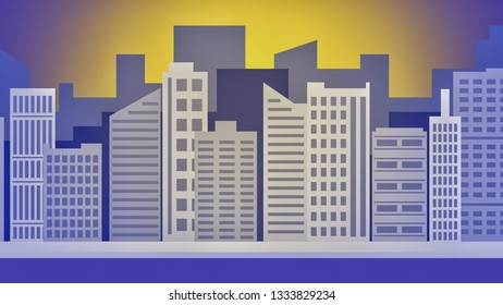 cartoon cityscape with skyscrapers and towers, sun on background, abstract design