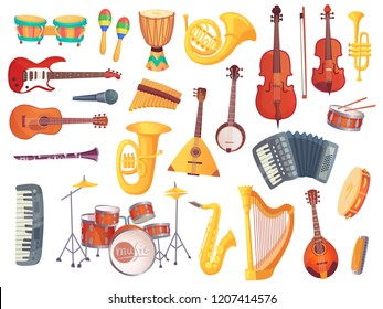 Cartoon classical jazz musical electric acoustic instruments, guitars, bongo drums, cello, saxophone, microphone, drum kit isolated. Music group equipment instrument  set collection