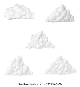 cartoon clouds collection  isolated on white background icon for design