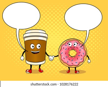 Cartoon coffee and donut holding hands pop art retro raster illustration. Cartoon character. Text bubble. Color background. Comic book style imitation.