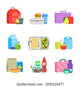 Cartoon Color School Lunch Food Boxes Set Include of Sandwich, Fruit, Milk, Cup with Straw and Fried. illustration