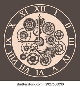 Cartoon Color Silhouette Clock Mechanism Concept Web Element Flat Design Style. illustration of Mechanical Watch and Gear.