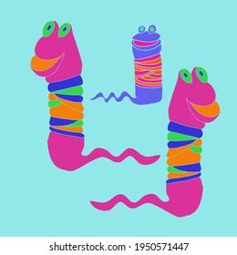 Cartoon colored animal, worm . Hand drawn.