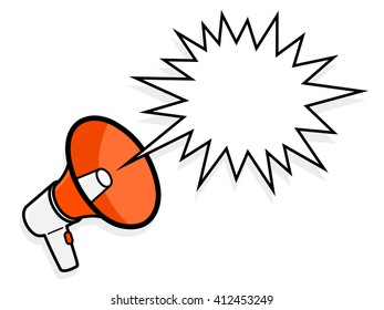 Cartoon colorful red megaphone with spiky speech bubble to show a loud amplified voice shouting, illustration