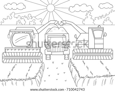 Cartoon Coloring Book Children Autumn Harvesting Stock Illustration