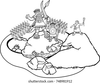 Cartoon coloring page of the David and Goliath battle scene.