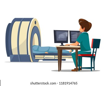 cartoon computer tomography ct or magnetic resonance imaging mri patient scanning concept. Man doctor in medical uniform makes diagnostic tests, screening of body looking at monitor in clinic.