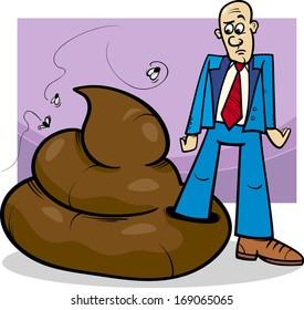 Cartoon Concept Illustration of Shit Happens Expression or Man who Trod in Big Poop