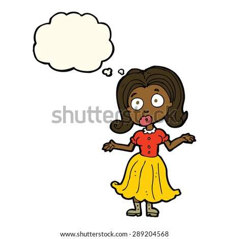 Cartoon Confused Girl Thought Bubble Stockillustration 289204568