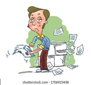 Cartoon Confused Man Using A Broken Copy Machine, illustration cartoon