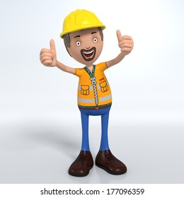 Cartoon construction worker with hard hat thumb up signal