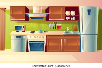 cartoon cooking room interior, kitchen counter with appliances - washing machine, toaster, fridge, microwave, kettle, blender, stove, potholder. Cupboard furniture Household objects