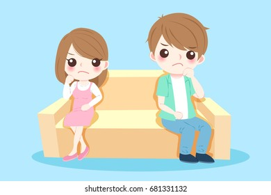 cartoon couple quarrel on the blue background