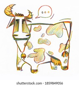 Cartoon cow, confused multicolor cow, countryside illustration, ox, hand drawn stock illustration