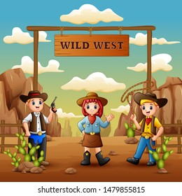 Cartoon cowboys and cowgirl in wild west background