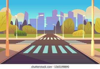 Cartoon crosswalks. Street road crossing highway traffic urban landscape building, crosswalk car, pedestrian empty sidewalk