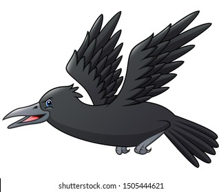 Cartoon crow isolated on white background illustration