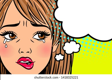 Cartoon crying woman. Annoyed, depressed and exhausted young lady with curved mouth in retro style, illustrationj