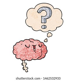 cartoon curious brain with thought bubble in grunge texture style
