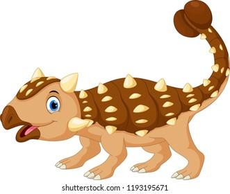 Cartoon cute ankylosaurus isolated on white background
