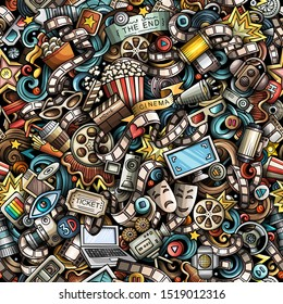 Cartoon cute doodles Cinema seamless pattern. Colorful illustration with lots of objects. Background with movie symbols and elements