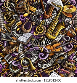 Cartoon cute doodles Classical music seamless pattern. Colorful detailed, with lots of objects background. Backdrop with musical instruments objects
