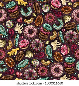 Cartoon cute doodles hand drawn Donuts seamless pattern. Colorful detailed, with lots of objects background. Endless funny sweet illustration.