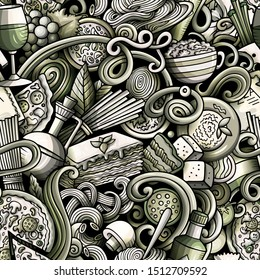 Cartoon cute doodles hand drawn Italian Food seamless pattern. Monochrome detailed, with lots of objects background. Endless funny illustration.
