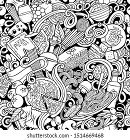Cartoon cute doodles hand drawn Italian Food seamless pattern. Sketchyl detailed, with lots of objects background. Endless funny illustration.