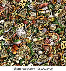 Cartoon cute doodles hand drawn Italian Food seamless pattern. Colorful detailed, with lots of objects background. Endless funny illustration.
