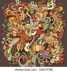 Cartoon cute doodles hand drawn Thanksgiving illustration. Colorful detailed, with lots of objects background. Funny raster backdrop with harvest symbols and items