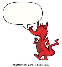 cartoon cute dragon with speech bubble