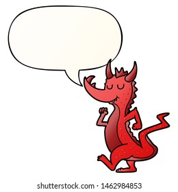 cartoon cute dragon with speech bubble in smooth gradient style