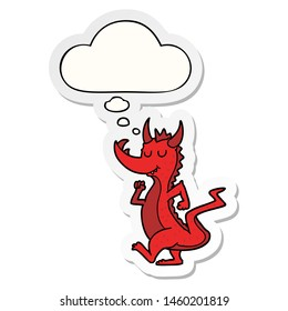 cartoon cute dragon with thought bubble as a printed sticker