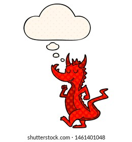 cartoon cute dragon with thought bubble in comic book style