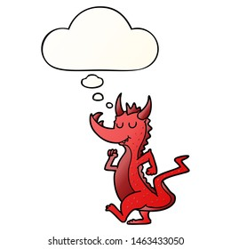 cartoon cute dragon with thought bubble in smooth gradient style