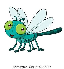 Cartoon cute dragonfly