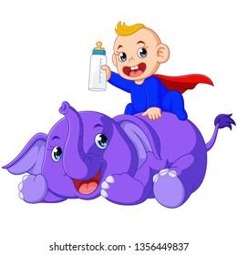 Cartoon cute elephant with baby boys