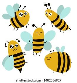 Cartoon cute funny bee character