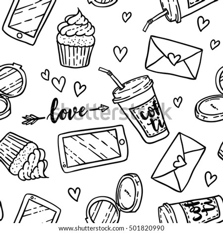 Cartoon cute girl's stuffs seamless pattern. Very feminine with pretty elements. Perfect for wallpaper