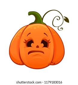 Cartoon cute haloween pumpking. Illustration. Raster copy of vector file. Halloween pumpkin. Isolated on white. Emoticon. Halloween icon.