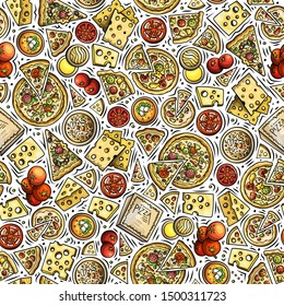 Cartoon cute hand drawn Italian food seamless pattern. Colorful with lots of objects background. Endless funny illustration