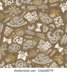 Cartoon cute hand drawn Italian food seamless pattern. Monochrome with lots of objects background. Endless funny illustration.