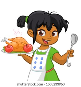 Cartoon cute little arab or afro-american girl in apron serving roasted thanksgiving turkey dish holding a tray and spoon.  Thanksgiving design