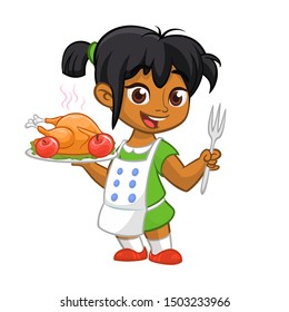 Cartoon cute little arab or afro-american girl in apron serving roasted thanksgiving turkey dish holding a tray and fork.  Thanksgiving design