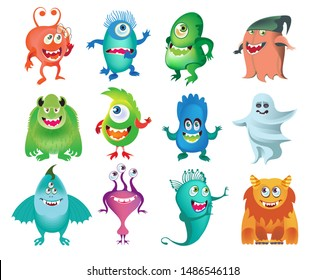 Cartoon cute monsters collection isolated. Design for print, party decoration, t-shirt, illustration, logo, emblem or sticker