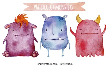 Cartoon cute monsters set. Kids funny watercolor illustration