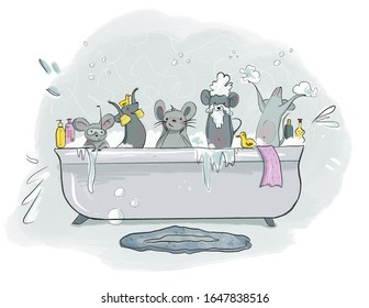 Cartoon cute mouses in different pose washing in the bath